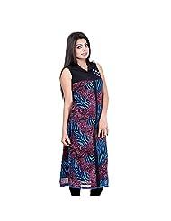 India Color Collar Neck Tiger Print Long Kurti - B00PS7HQC0