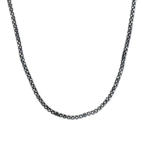 Oxidized Sterling Silver Italian Woven Chain Necklace, 18""