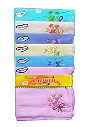 Milano Ladies Fancy cotton hankies- 6 Pcs Pack