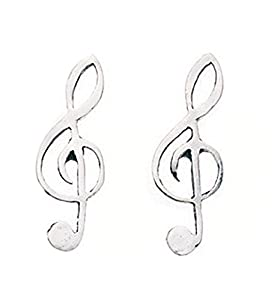Sterling Silver 925 Treble Clef Music Stud Earrings