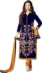 V-Kart Women's Cotton Blend Unstitched Dress Material (vkart_205_Blue_Free Size)