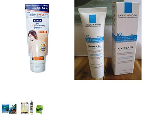 Special Set :Nivea Uv Whitening Serum Body Lotion Spf 22 200Ml Plus La Roche-Posay Uvidea Xl Cream Spf 50 Pa +++ 30 Ml. [Get Free Tomato Facial Mask]
