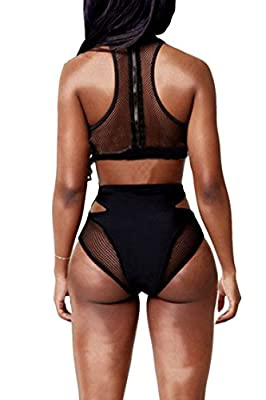 Viottis Women's Mesh Racing Neck High Waist Swimwear Black-A M
