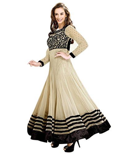 Ethnicbasket Womens Net Anarkali Dress Material (212B _Cream _Medium)