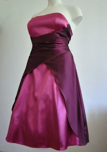 M2030, Satin Abendkleid Ballkleid Cocktailkleid kurz burgund