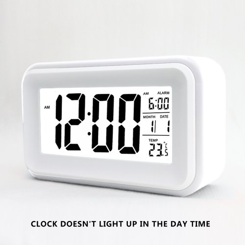 HITO™ 6 Alarm Clock w/ Date and Temperature Display, Repeating Snooze, Light-activated Sensor Light and Touch-activated Nightlight- Batteries/ USB powered (White)