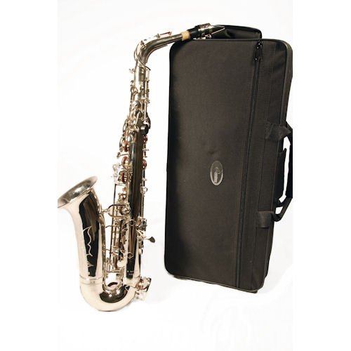Barcelona Alto Saxophone with Case, Reeds, Cleaning Rod, Polishing Cloth, Gloves, and Cork Wax - Nickel Plated