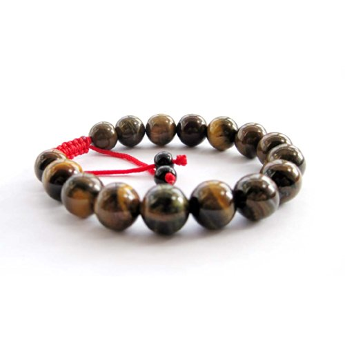 Tiger Eye Gem Beads Tibetan Buddhist Prayer Mala Bracelet