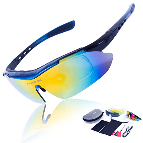 RIVBOS 806 POLARIZED Sports Sunglasses with 5 Set Interchangeable Lenses for Cycling