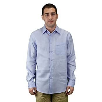 Long sleeve button down linen shirt, men, lavender.