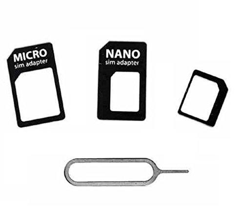 C63® Kit adaptateur carte SIM 4 en 1 L'adaptateur Nano/Micro SIM pour iPhone 5/5S 4/4S/3 g/3GS/iPad 1/2/3/tablettes Smartphones avec outil d'éjection