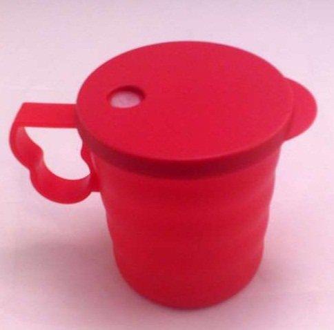 Tupperware Junge Welle Tasse mit Deckel rot Trinkhalm Trinkhalmtasse 350ml