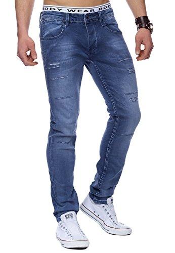 Jeans Uomo distrutto Casper ID1445 azzurro, Farben:Azul claro;Größe-Jeans:W34