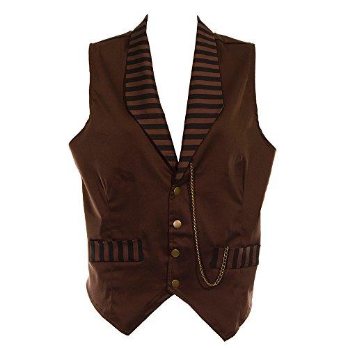 Golden-Steampunk-Mens-Stripe-Waistcoat