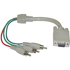CableWholesale 1-Foot HD15 -VGA Female to RCA x 3 Male D / Shield Video Adaptor (30H1-50300)