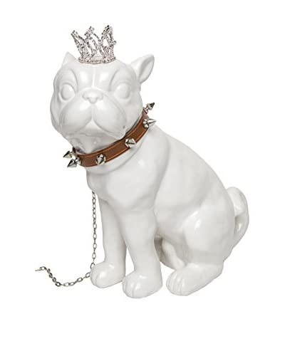 Interior Illusions Bull Dog Bank with Crown & Necklace, White