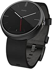Motorola Moto 360 - Black Leather Smart Watch (Certified Refurbished)