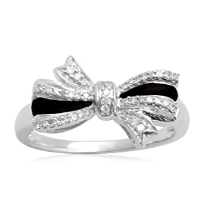 Silver & Black Bow Ring with diamonds