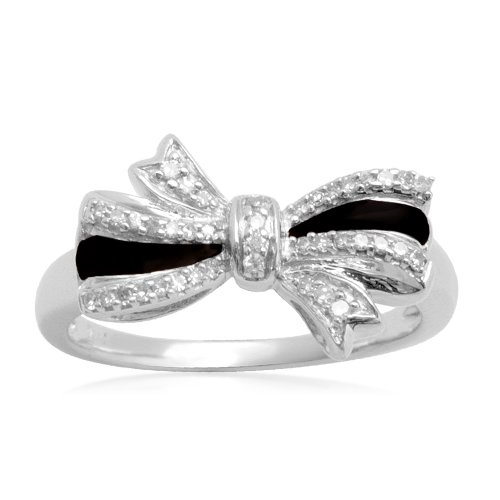Sterling Silver Black Enamel Bow Diamond Ring (1/10 cttw, I-J Color, I2-I3 Clarity), Size 6