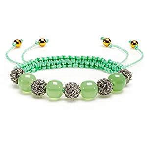 Juicy Couture Pave Beaded Friendship String Cord Bracelet-Light Green