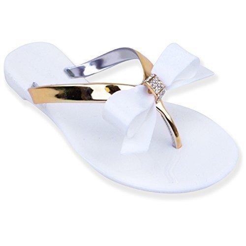 Nuovo da Donna/da donna estate in gomma piatti in DIAMANTE fiocco INFRADITO sandali 3-8 (UK 3, bianco)