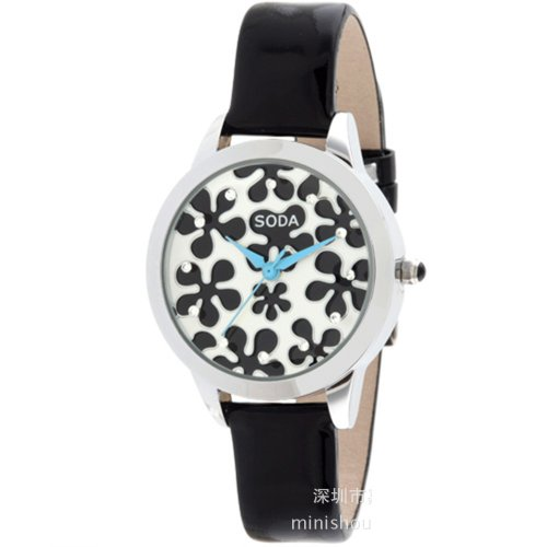 Ufingo-Fashionhigh End Luxury Nice Quartz Watch For Ladies/Women/Girls-Black Leather Strap Black Dial