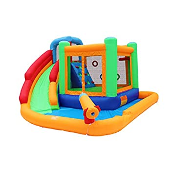 Bestparty Inflatable Spin Combo Jumper Bounce House and Water Slide Combo with Blower for kids