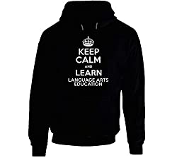 Keep Calm and Learn Language Arts Education School Subject Hooded Pullover