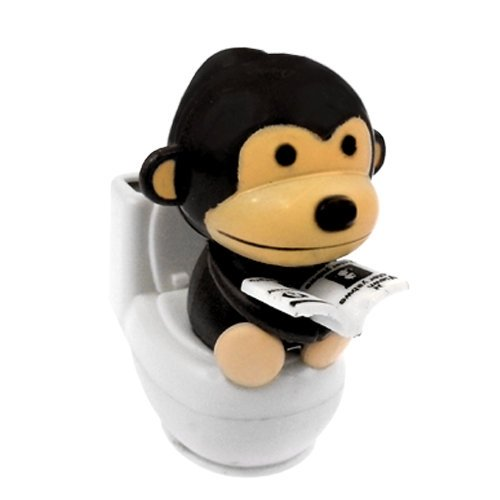 Solar Power Motion Toy - Monkey on Toilet - Black