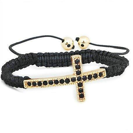 Black Crystal Cross Black Shamballa Macrame Bracelet Women's Men's Jewelry