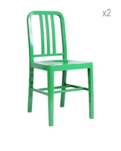 Lo + De Moda Set 2 Sedie da Esterno Verde