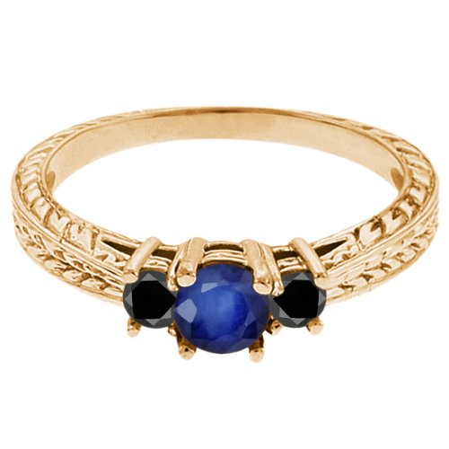 0.60 Ct Round Blue Sapphire Black Diamond 14K Yellow Gold 3-Stone Ring