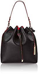 Vince Camuto Leila Drawstring Shoulder Bag, Black/Poppy Red, One Size