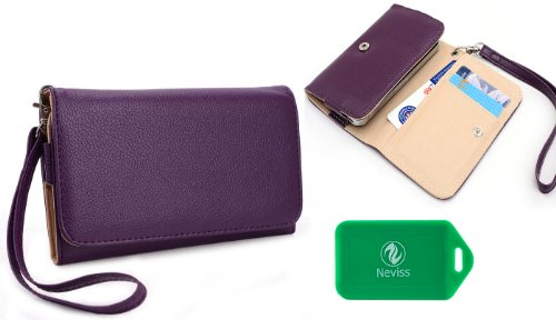 Universal Wallet With Phone Holder And Internal Card Slots- Purple - Compatible Fit For Samsung Galaxy S4 Zoom Sm-C101Cell/Camera Phone