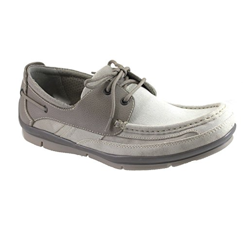 Calvin Klein Mens Boat Shoes Casual Supple leather Jace F0330 Taupe off White