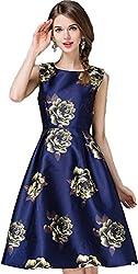 hk fashion satin fabrics digital print blue cream flowers western dress