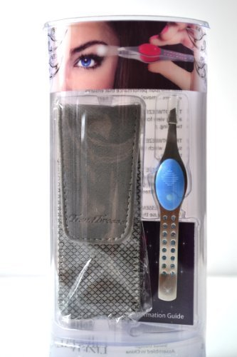 "Trend Tweeze LED Lighted Tweezer Blue Stainless Steel G3 LED Lighted Precision Tweezers ""Blue"" with Swarovski Crystal + Travel Bag by TrendTweeze"