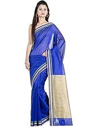 Chandrakala Women's Banarasi Cotton Silk Saree(Blue)