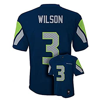 Settle Seahawks Russell Wilson Navy Blue NFL Youth 2014-15 Season Mid-Tier Jersey Size (Small 8)