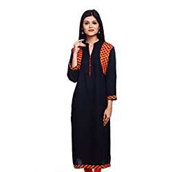 Saamarth Impex Women Cotton Blue Color embroidery Work Collar Neck Long Straight Style Kurti SI-2858
