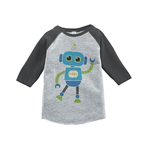 Custom Party Shop Boy's Novelty Robot Vintage Baseball Tee 5T Grey and Blue (Robot 5t compare prices)
