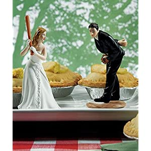 Click to buy Wedding Reception Decoration Ideas: Groom Pitching Baseball Figurine from Amazon!
