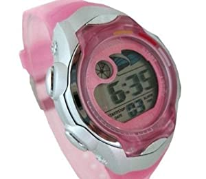 Digital Girls Sports Watch Date Alarm Stopwatch with Luminous Dial in Pretty Pink