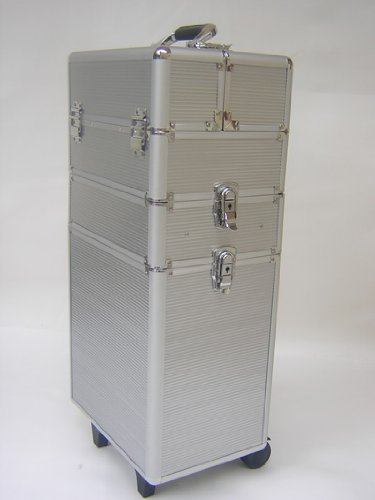 Mollycoddle 3 in1 Silver Hairdressing Makeup Beauty Case Cosmetics Trolley