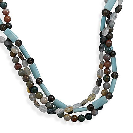 Sterling Silver 16 + 2 Inch Triple Strand Multistone Necklace
