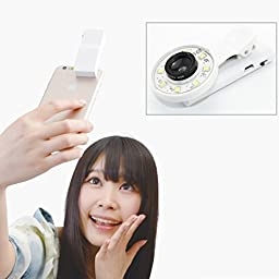 Cyxus Mini Selfie Fill Light [Adjustable Brightness] [3 Filter] Portable Spot Round Ring Spotlight Clip Phone Flash 9 LEDS Night Flashlight for Any Cell Tablet Apple iPhone 6s/5/6 Plus (White)