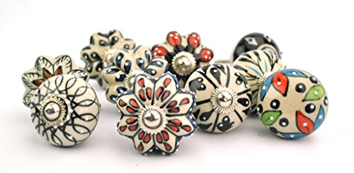 set of 10 black & white floral ceramic cupboard cabinet knobs drawer pulls Small 1.5