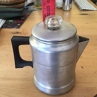 Vintage Comet The Popular Aluminum 5 Cup Stove Top Coffee Pot burned handle