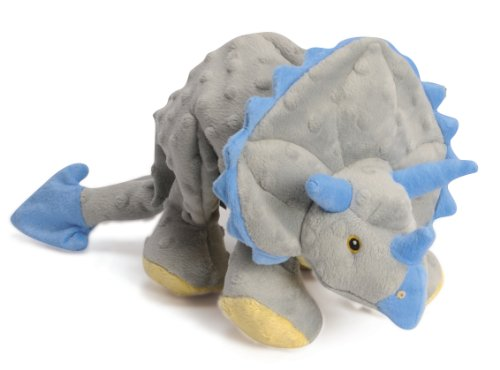 goDog Dinos Triceratops With Chew Guard Technology Tough Plush Dog Toy, Grey, Large - 1