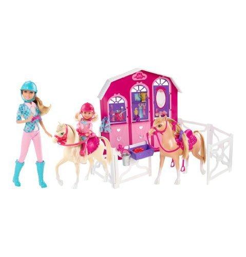 Barbie-BFY08-Pferde-Stall-Geschenkset-inkl-2-Pferde-und-2-Puppen